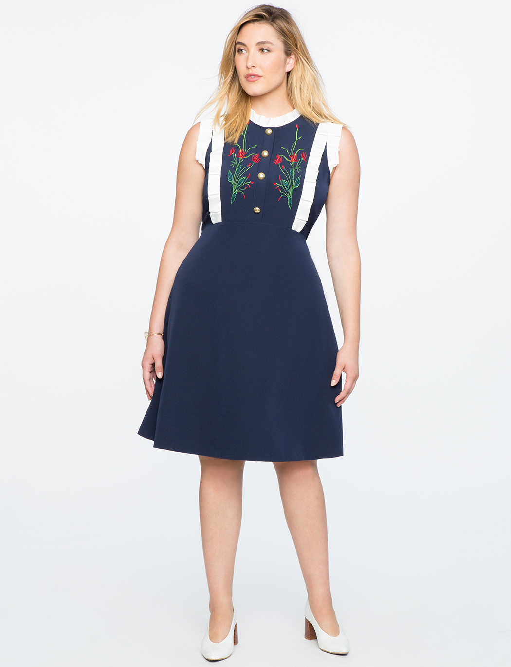 Embroidered Sleeveless A-Line Dress