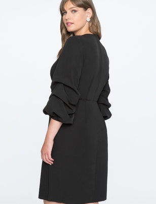 Puff Sleeve Overlap V-Neck Dress