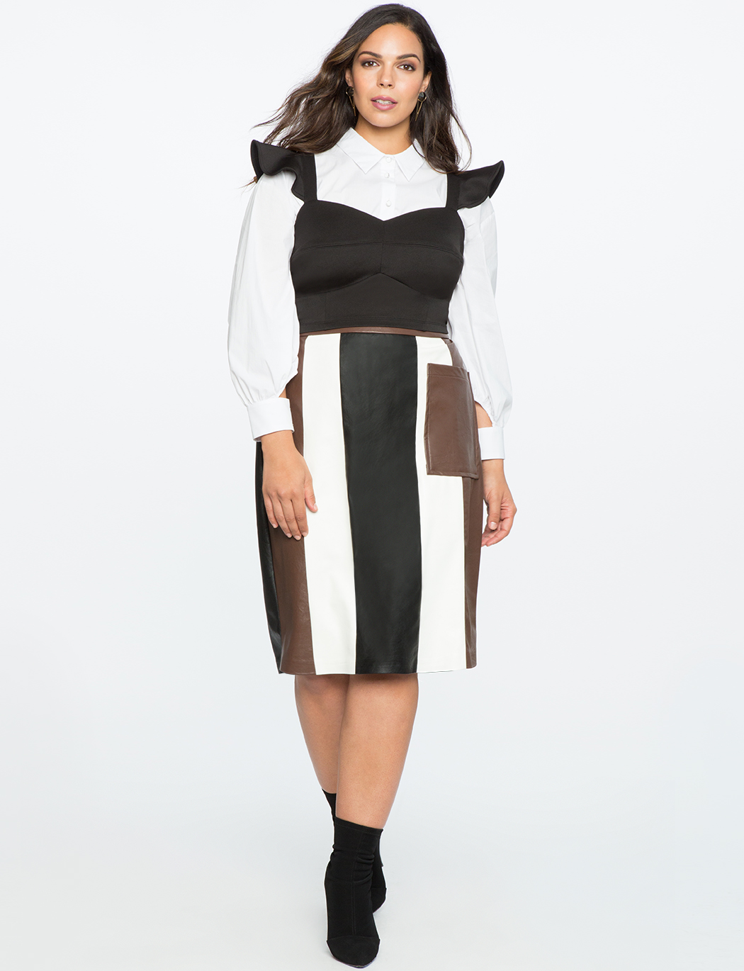 Faux Leather Panel Column Skirt