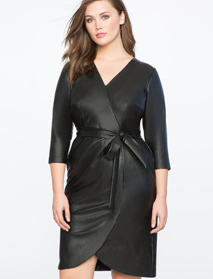Faux Leather Wrap Dress