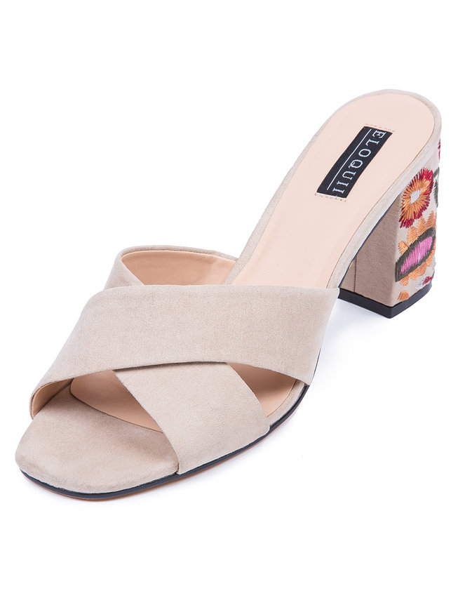 Slide Sandal with Embroidered Heel