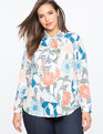 Printed High Low Bow Neck Blouse  Roaming Meadows