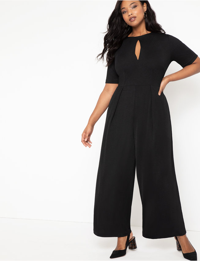 Pleated Jumpsuit with Keyhole