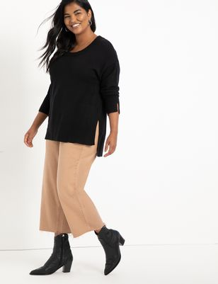 Long Drop Shoulder Sweater with Side Slits