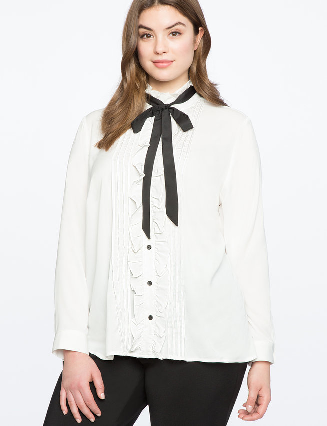 Ruffle Front Button Down Blouse