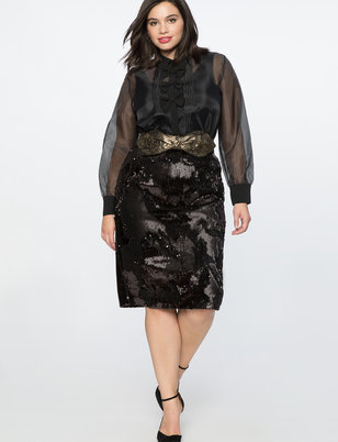 f50b0676344 Two Tone Sequin Pencil Skirt