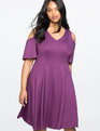 Cold Shoulder V-Neck Dress GRAPE ROYALE