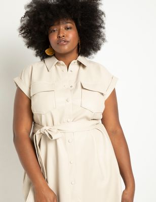 Relaxed Faux Leather Shirtdress