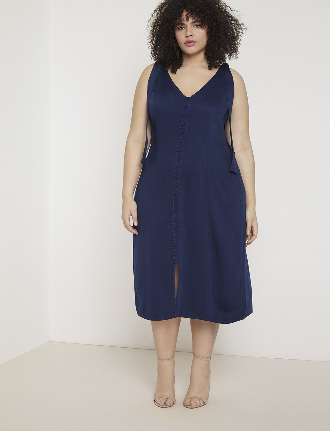 Button Front Midi Dress | Women\'s Plus Size Dresses | ELOQUII