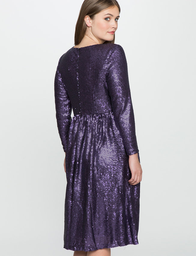 Studio Sequin Fit and Flare Dress | Women\'s Plus Size Dresses | ELOQUII