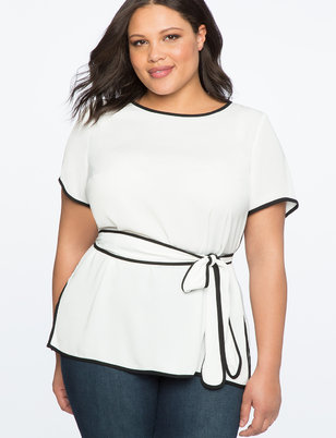 Belted Top With Piping