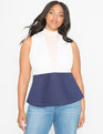 Mock Neck Empire Peplum Top