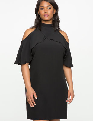 Cold Shoulder Mock Neck Dress