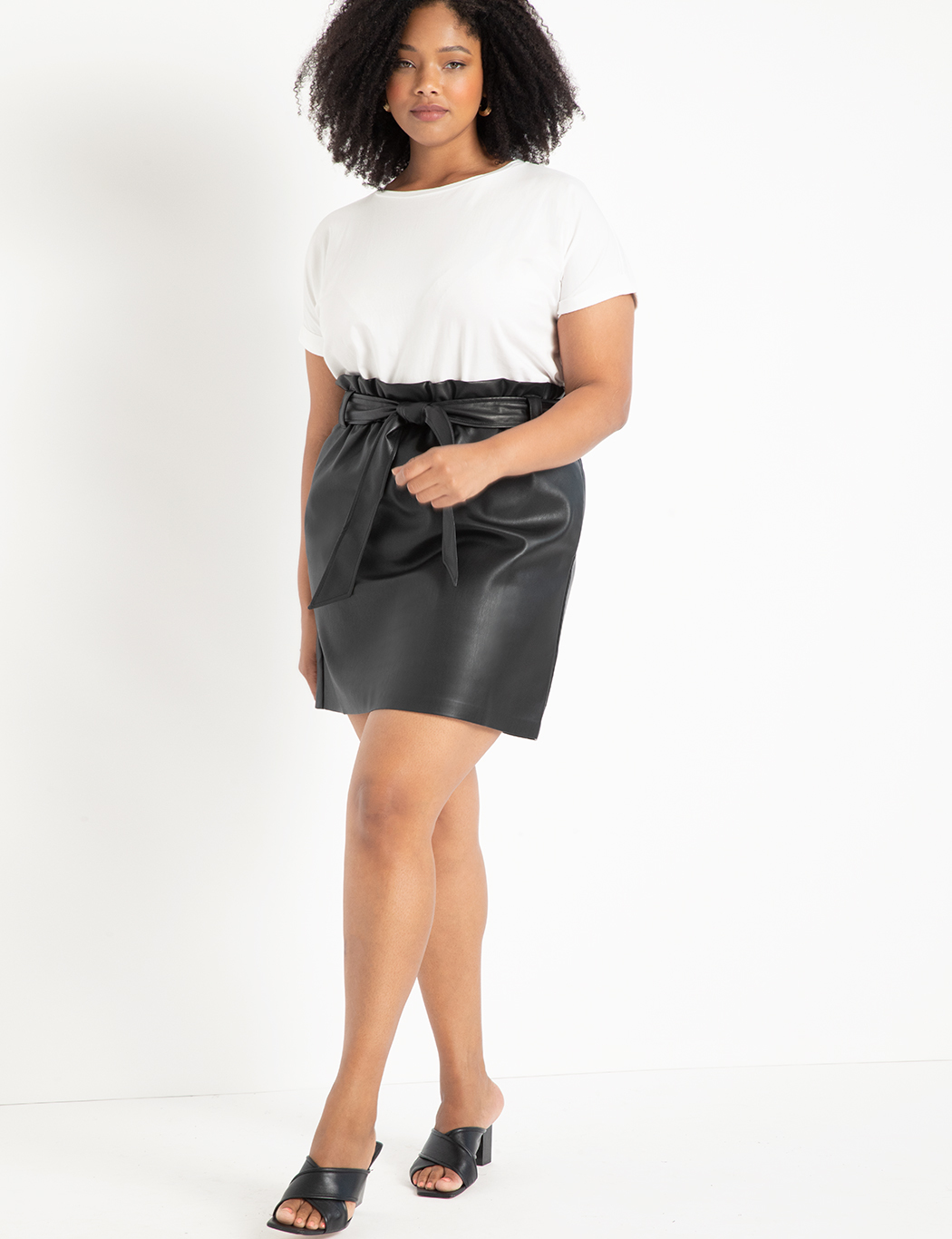 Faux Leather Mini Skirt with Belt