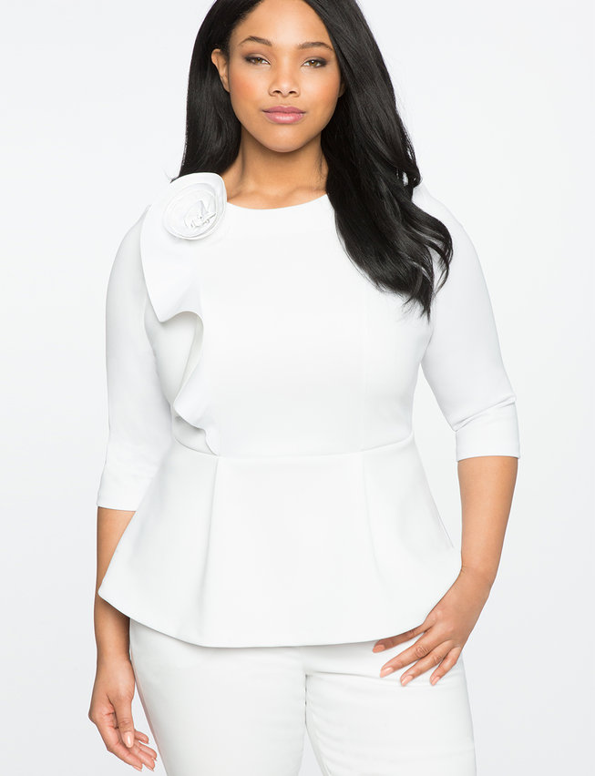 Roset Ruffle Peplum Top | Women\'s Plus Size Tops | ELOQUII