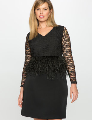 Studio Feather and Lace Peplum Dress