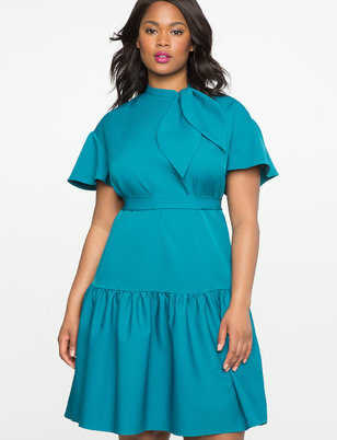 Tie Neck Ruffle Hem Dress