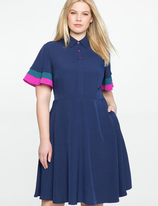 Tiered Sleeve Fit and Flare Dress