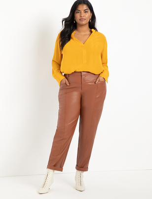 Faux Leather Trouser with Yoke