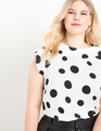 Cowl Neck Blouse White with Black Dot
