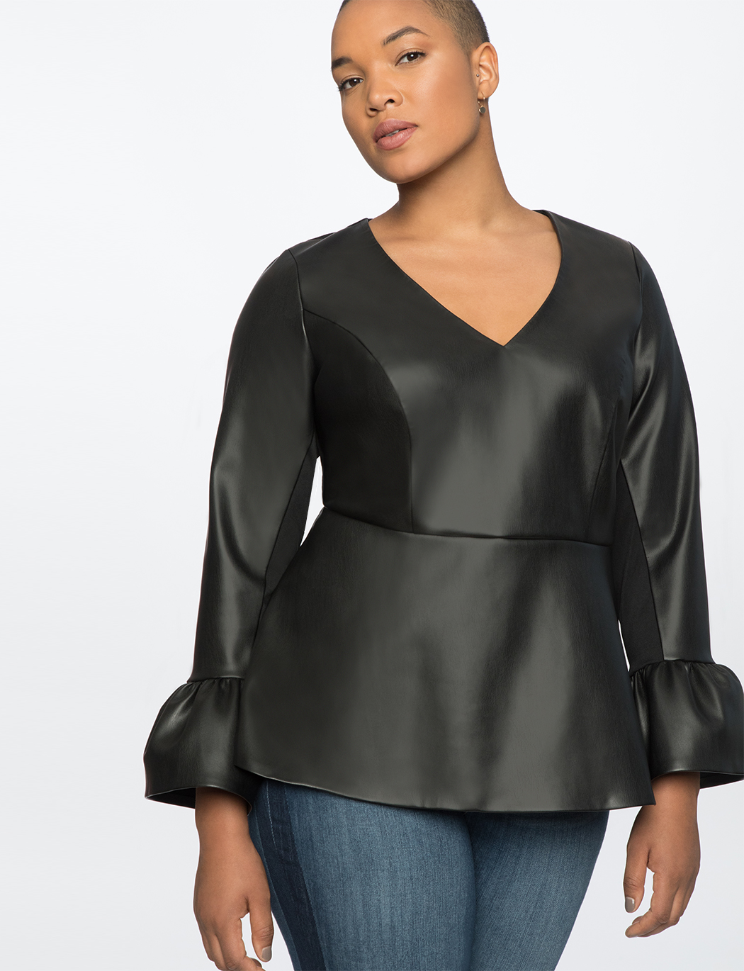 4c6d0939154 Faux Leather Top with Flare Sleeves