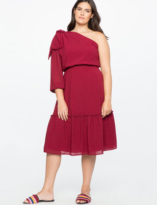 One Shoulder Bow Detail Dress