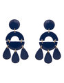 Geometric Drop Stud Earrings Navy