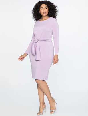 Long Sleeve Scuba Dress with Tie