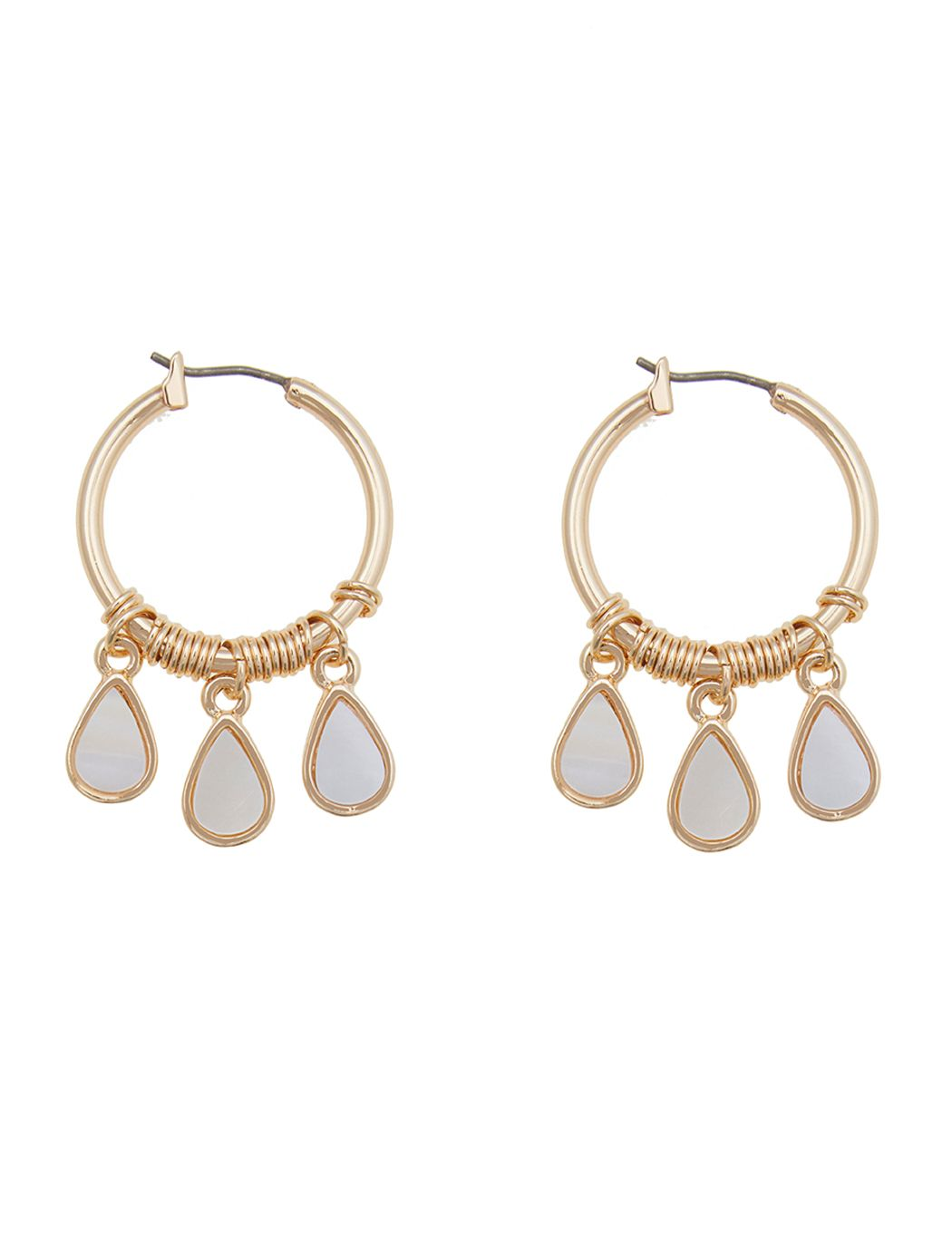 Enamel Drop Hoop Earrings