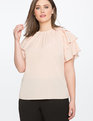 Tiered Ruffle Sleeve Top Rose Dust