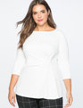 Asymmetrical Pleated 3/4 Sleeve Top Soft White