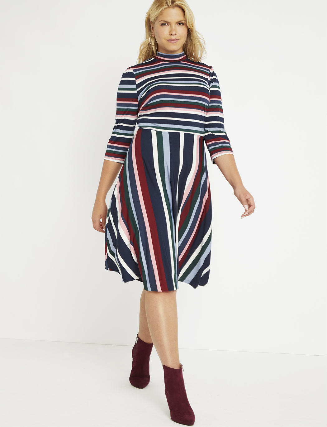 Printed Fit and Flare Dress | Women\'s Plus Size Dresses | ELOQUII