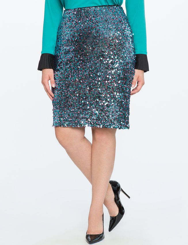 Two-Tone Sequin Pencil Skirt
