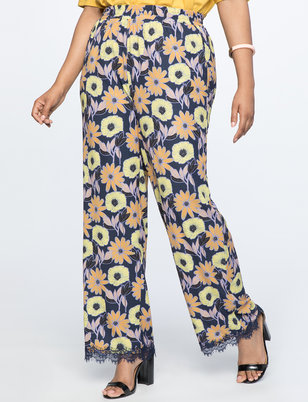 Printed Wide Leg Pant with Lace Hem