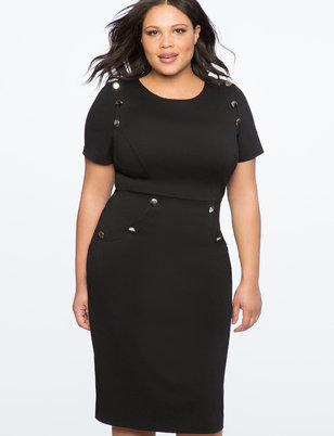 Button Detail Sheath Dress