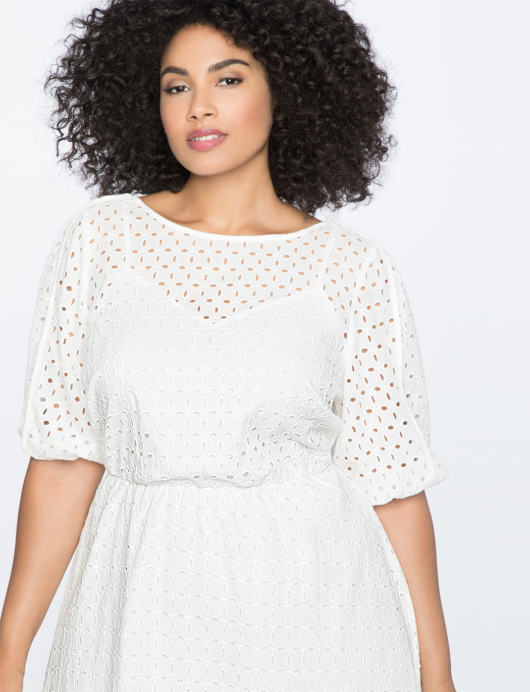 Boatneck Eyelet Dress with Piping | Women\'s Plus Size Dresses | ELOQUII