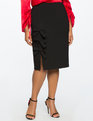 Bow Detail Column Skirt Black