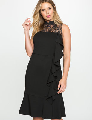 Tie Back Trumpet Dress with Cascading Ruffle