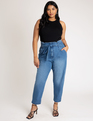 High Waisted Jean with Ankle Cinch Medium Wash