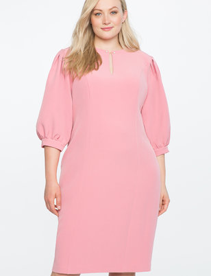 Puff Sleeve Shift Dress with Keyhole Detail