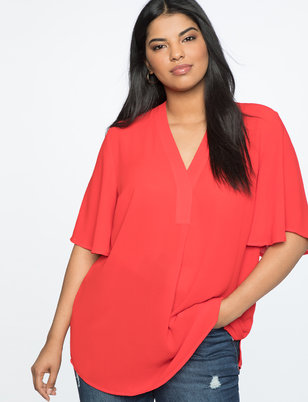 Flutter Sleeve V-Neck Top