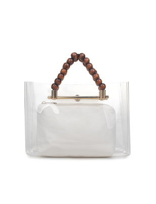 Clear Wooden Bead Handle Bag