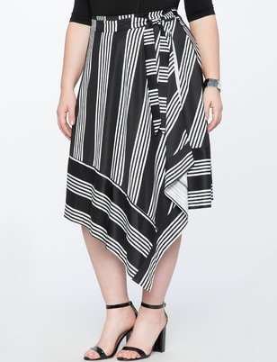 Opposing Stripe Midi Skirt