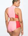 Colorblock One Piece Swimsuit with Cutouts Paradise Pink and Goji Berry