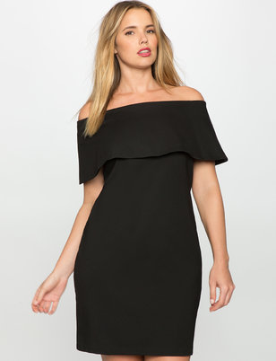 Off the Shoulder Dress with Overlay