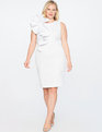 Ruffle Shoulder Dress Soft White