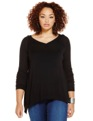 V-Neck Sweater with Chiffon Inset Black & Cheetah
