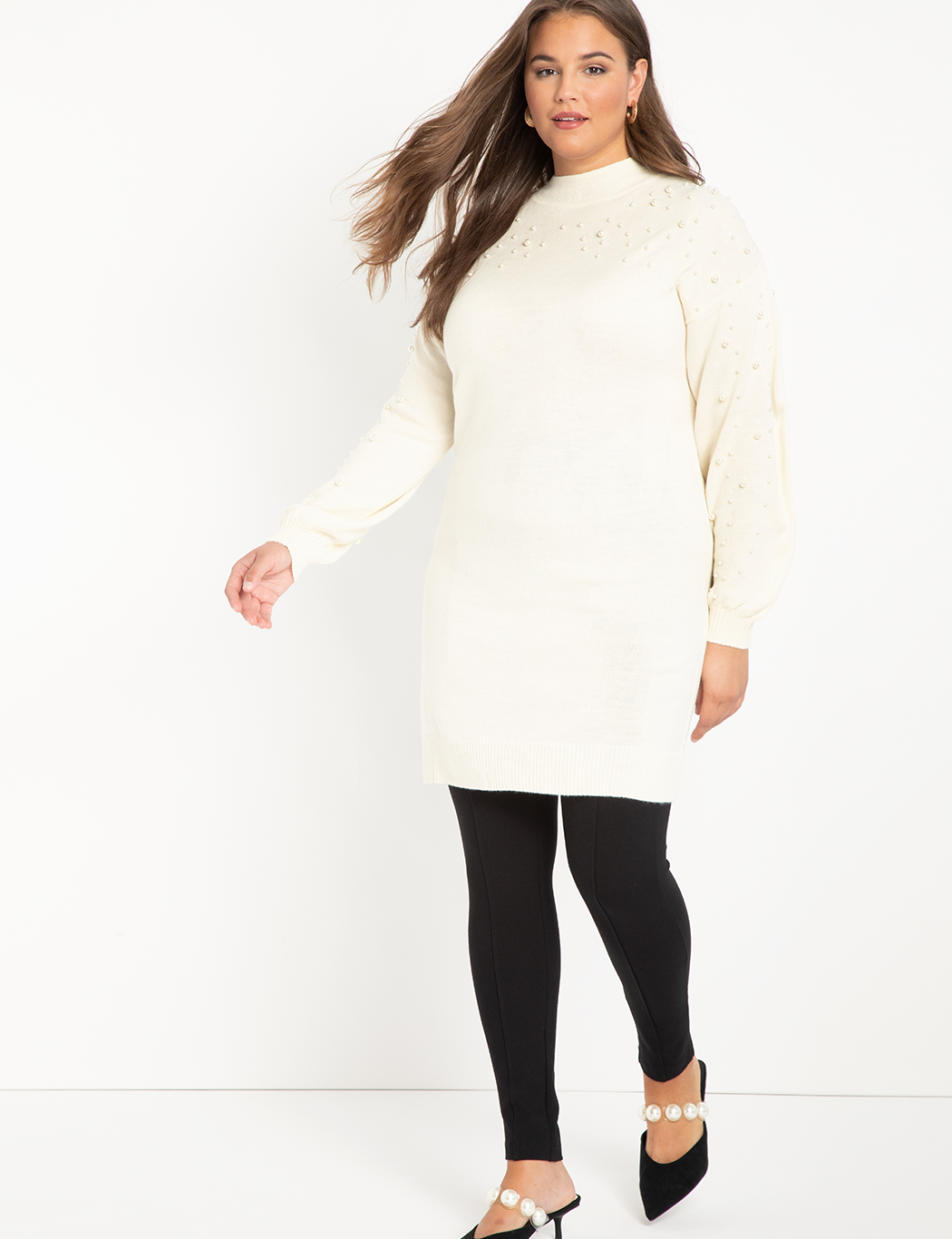 ELOQUII Elements Pearl Embellished Sweater Dress