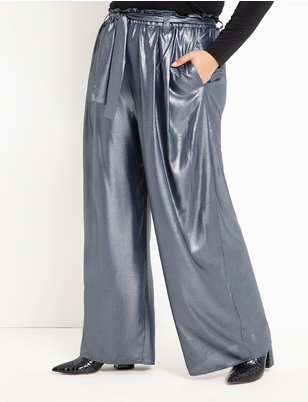Metallic High Waist Wide Leg Pant