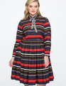 Long Sleeve Printed Fit and Flare Dress HELLO STRIPE